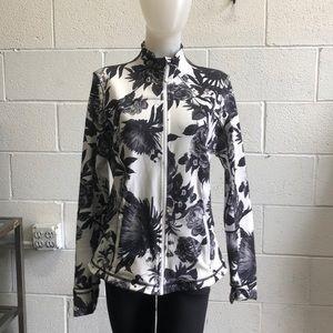 Lululemon black & white floral jacket sz 12 61967